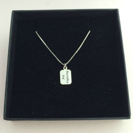 Engraved Necklace for Boys, Silver Chain