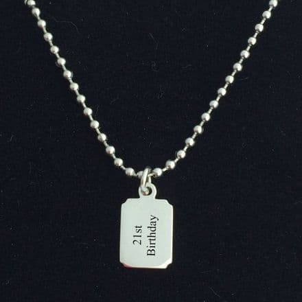Engraved Necklace for Boys, Steel Ball Chain