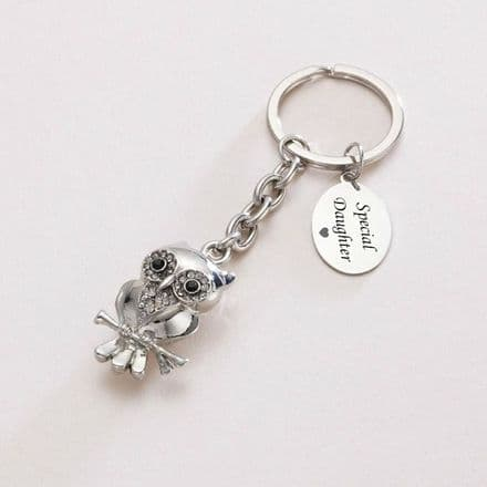 Engraved Owl Key Ring