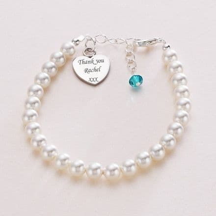 Engraved Pearl Bracelet with Birthstone Dangle.
