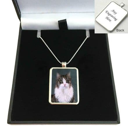 Engraved Photo Necklace on Sterling Silver Chain
