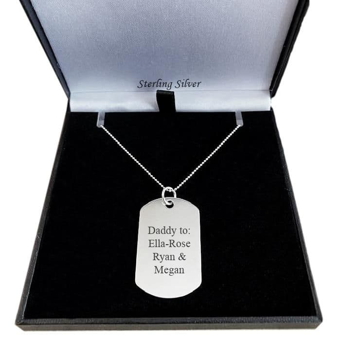 Engraved Silver Dogtag Necklace, large | Charming Engraving