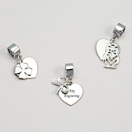 Engraved Silver Heart on Bail, Choice of Charms