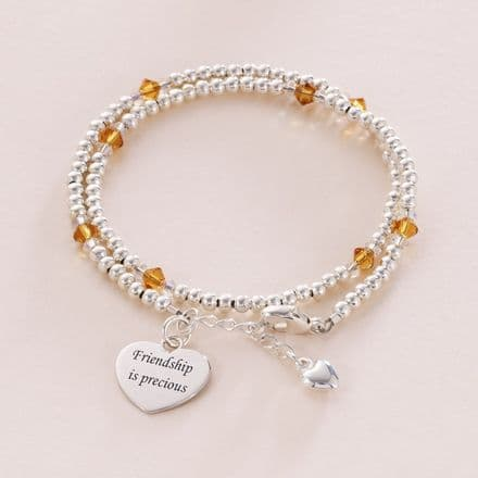 Engraved Silver Wrap Bracelet with Birthstones