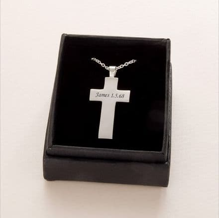Engraved Solid Silver Cross Necklace