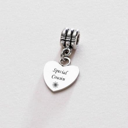 Engraved Special Cousin Charm with Pewter Bail
