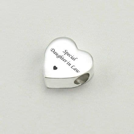 Engraved Steel Charm Bead, Daughter-in-Law Heart