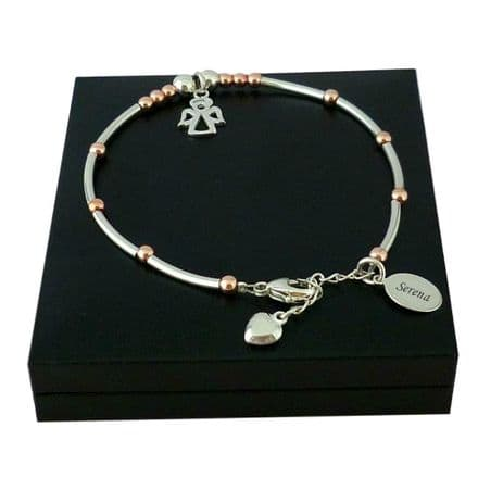 Engraved Sterling Silver and Rose Gold Bracelet with Angel
