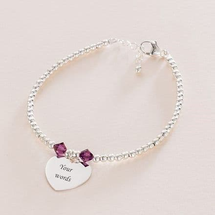 Engraved Stg Silver Bead Bracelet with Birthstones
