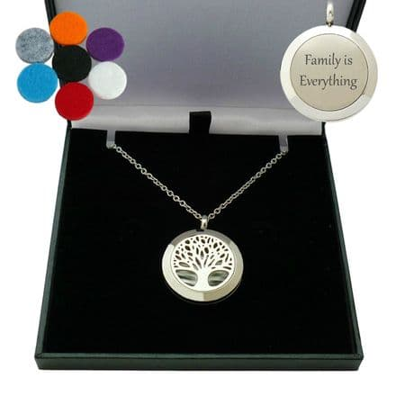 Engraved Tree of Life Aromatherapy Locket Necklace,  18th, 21st, 30th Birthday