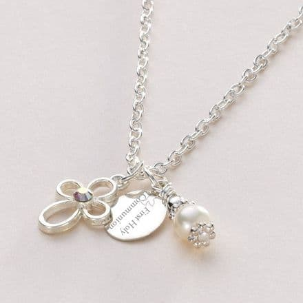 First Holy Communion Necklace with Engraved Tag