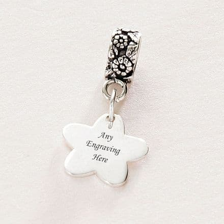 Flower charm Sterling Silver fits Pandora, Any Engraving