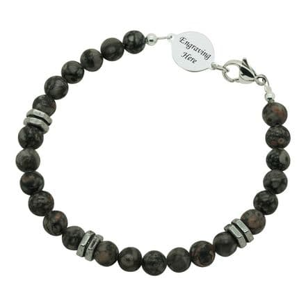 Fossil Agate Bracelet with Engraving for Man or Boy