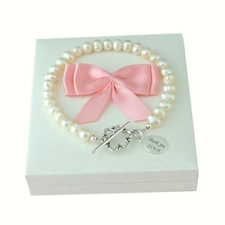 Freshwater Pearl and Silver Bracelet with Engraved Charm