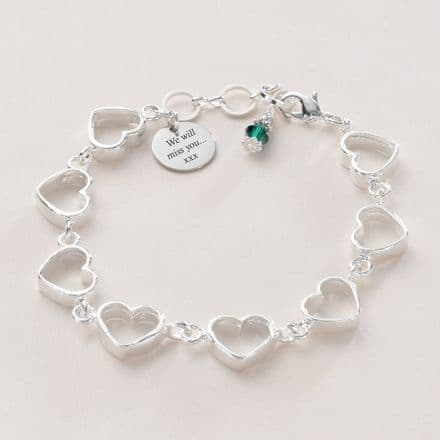 Heart Chain Bracelet with Birthstone and Engraving