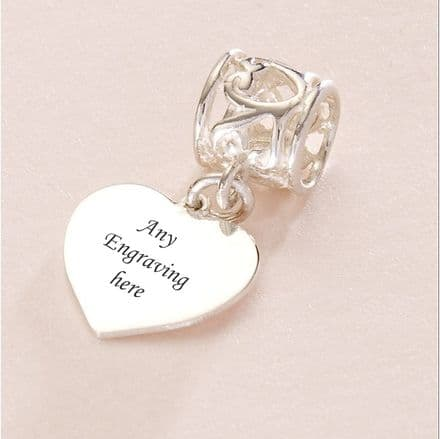 Heart charm Sterling Silver fits Pandora, Any Engraving