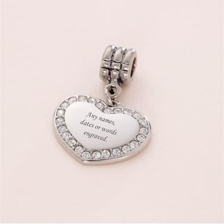 Heart charm with Crystals, fits Pandora, Any Engraving
