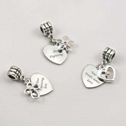 Heart charm with Flower, Cross or Heart, Any Engraving