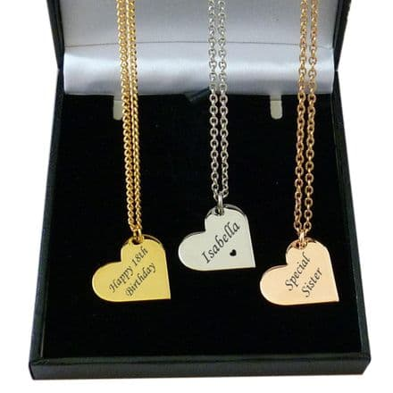 Heart Necklace,  Rose Gold, Gold, Silver, Personalised with Engraving