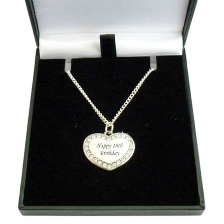 Heart Necklace with Engraving and Crystals