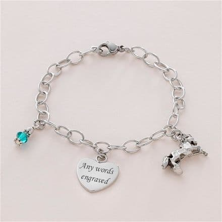 Horse Bracelet with Birthstone and Engraving