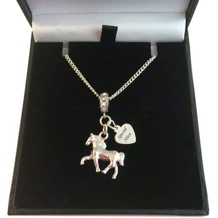 Horse Necklace with Engraved Silver Tag