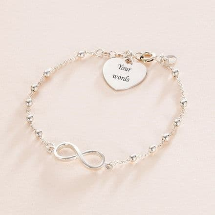 Infinity Bracelet with Engraving, Sterling Silver