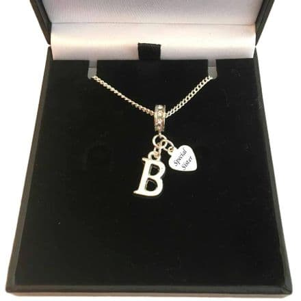 Letter Pendant  Necklace with Engraved Silver Tag