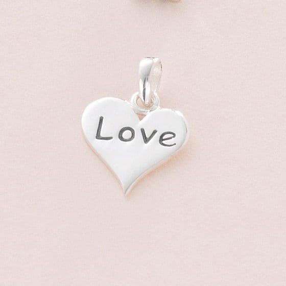 Love Heart Charm, Sterling silver | Charming Engraving