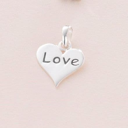 Love Heart Charm, Sterling silver on Clasp, Ring or Bail