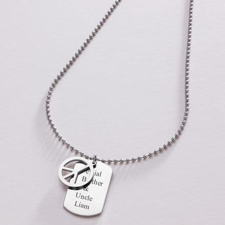 Man's Engraved Dog Tag with Peace Symbol
