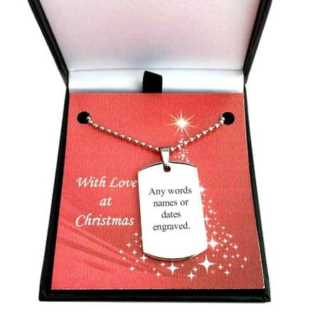 Man's Engraved Dogtag Necklace in Christmas Box