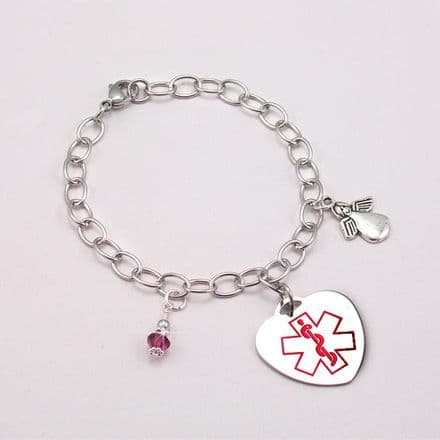 Medical Bracelet with Angel and Birthstone Charms