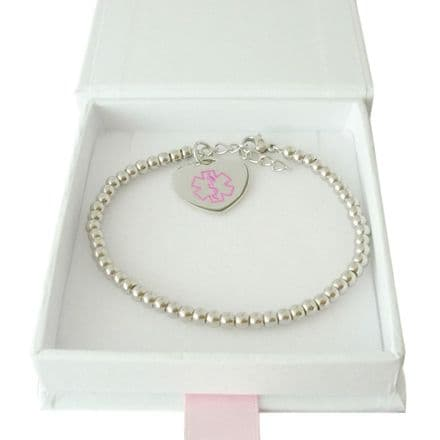 Medical Bracelet with Steel Beads for Women or Girls
