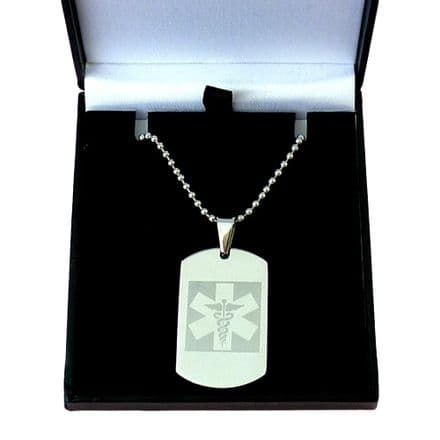 Medical Dogtag for a Man, Engraved, Stainless Steel