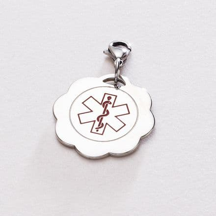 Medical ID SOS Flower Pendant Free Engraving plus chain or clasp!