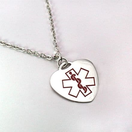 Medical ID SOS Heart Necklace with Free Engraving