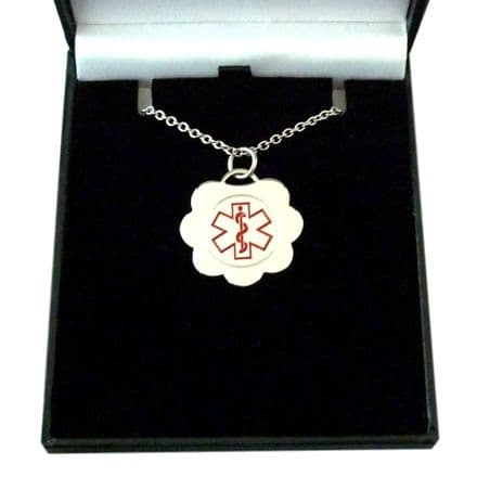 Medical Necklace with Engraving in Gift Box, Flower Pendant