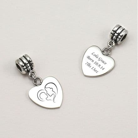 Mother and Child Charm with Engraving fits Pandora.