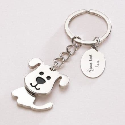 Moving Dog Key Ring with Engraving