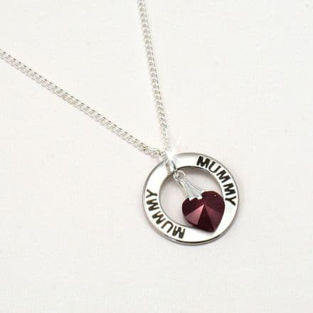 Mum or Mummy Necklace with Birthstone Heart