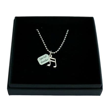 Musical Note Necklace with Engraved Tag