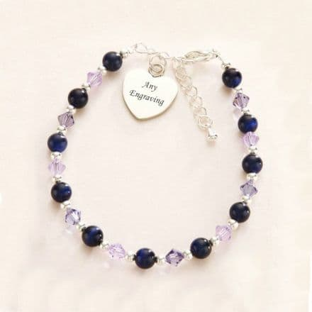 Navy & Tanzanite Bracelet with Engraved Heart