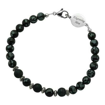 Obsidian Bracelet with Engraving for Man or Boy