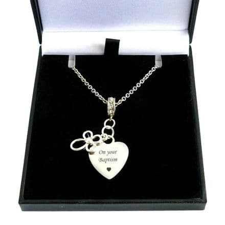 Open Cross Necklace with Engraved Heart Pendant