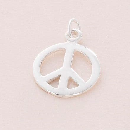 Peace Charm, Sterling silver on Lobster Clasp, Split Ring or Bail