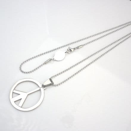 Peace Symbol Necklace with Engraved Link