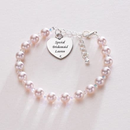 Pearl And Crystal Bracelet With Engraved Heart Charm