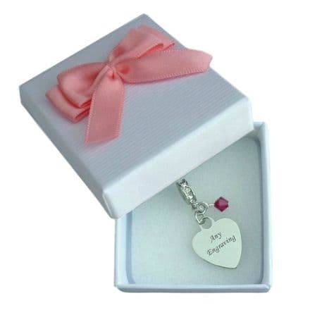Personalised Charm with Birthstone and Engraving