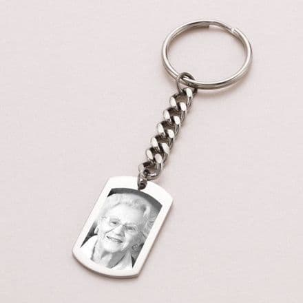 Personalised Dogtag Keyring with Photo Engraved
